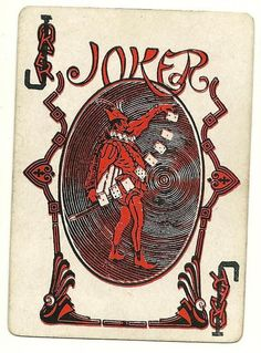 "lovely old joker from Delands ""Daisy"" deck Joker Playing Card, Joker Card, Playing Cards, Old Joker, Jokers Wild, Cartomancy, Deck Of Cards, Cool Cards, Tarot Cards"