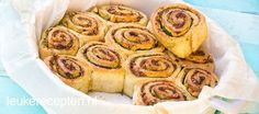 Leuk als borrelhapje of voor de high tea; broodrolletjes met pesto en verse basilicum