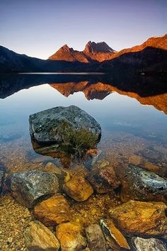 Cradle Mountain in Australia :: Started out from this lake when I hiked Cradle Mtn-Lake St Claire in 1995. Gorgeous.