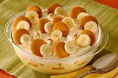 1 14 oz. can Eagle Brand Sweetened condensed milk -NOT EVAPORATED 1.5 c cold water 1 pkg instant vanilla flavor pudding mix 2 c whipping cream whipped 36 vanilla wafers 3 med. bananas In large bowl, combine sweetened condensed milk @ water. Add pudding mix beat well. Chill 5 min. Fold whipped cream. Layer bananas, pudding, wafers. Refrigerate and top with additional whipped cream if desired