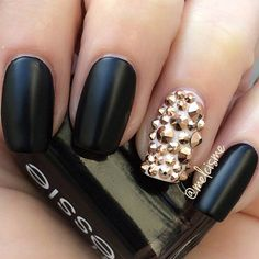 Simple Matte Black and Gold Nail Design