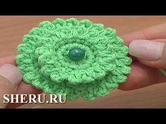 Crochet Layered Flower Button  Урок 6 часть 1 из 2 Вязать пуговицу крючком