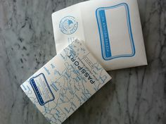 Our wedding passports....I mean invitations custom designed by Digby Rose in Washington, DC