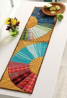 Plaid Curves Table Runner by Feed Dog Designs