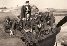 RAAF crew of Lancaster. Their plane was shot down over Osnabruck, Germany. Pilot Frank McEgan ( standing) along with another crew member, were killed.