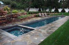 square pools with water features | Geometrical pool with stacked ...