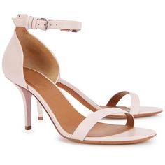 Womens Mid-Heel Sandals Givenchy Blush Leather Sandals (45.725 RUB) ❤ liked on Polyvore featuring shoes, sandals, heeled sandals, open toe shoes, givenchy sandals, strappy high heel sandals and open toe high heel sandals