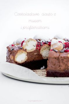 chocOlate cake with chocolate mousse and cream profiteroles Polish Recipes, Polish Food, Naked Cakes, Cheesecake Pie, Crepe Cake, Profiteroles, Baking And Pastry, Specialty Cakes, Muffins