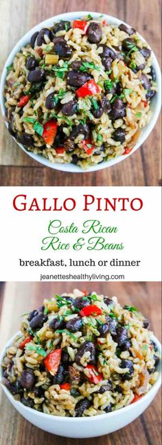 Gallo Pinto (Costa Rican Rice and Beans) Recipe - Jeanette's Healthy Living - Gallo Pinto (Costa Rican Rice and Beans) – this versatile side dish can be served for breakfast, lunch or dinner. Made healthier with brown rice. Gallo Pinto, Bean Recipes, Side Dish Recipes, Pasta Recipes, Cooking Recipes, Cooking Games, Potato Recipes, Free Recipes, Dinner Recipes