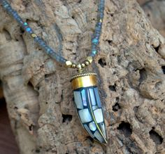 Ethnic Global Brass Tibetan Horn Pendant Mother by Cheshujewelry, $60.00