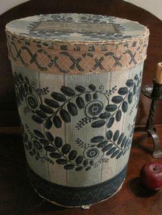 Antique 1800s N.E. Folk Art HUGE Flocked Hearts WALLPAPER Hat Box Bandbox  AAFA  #Americana