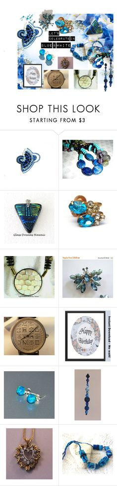 Let's Celebrate in Blue & White by owlartshop on Polyvore featuring TintegrityT and EtsySpecialT