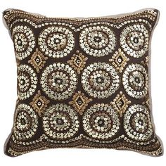 Sequin Circles Pillow - Bronze - The geometric shapes makes this eye-catching along with the sparkle.