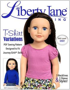 Liberty Jane T-Shirt Variations Doll Clothes Pattern for Journey Girls Dolls | Pixie Faire