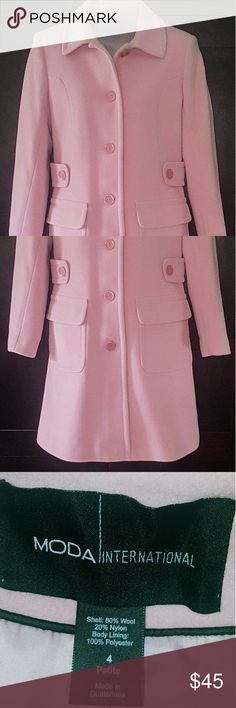 New Without Tags! Gorgeous Pea Coat New Without Tags! Gorgeous Pink 3/4 Length Coat. Victoria Secret Moda International brand. Size 4P. Moda International Jackets & Coats Pea Coats