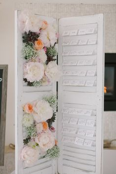 Covered in paper flowers// Using Shutters for wedding table seating board - Newport Wedding from Ruth Eileen Photography Mod Wedding, Wedding Reception, Wedding Beach, Wedding Table Seating, Seating Cards, Ideas Geniales, Wedding Designs, Wedding Ideas, Planer