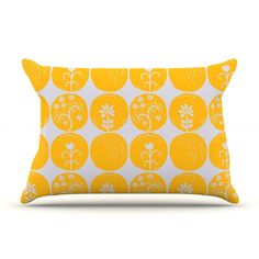 East Urban Home Dotty Papercut Yellow by Anneline Sophia Circles Featherweight Pillow Sham