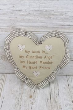 Heart Scatter Cushion Mum My Guardian Angel For Home Mothers Day Cream  FD3992
