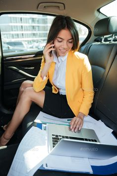 Portrait of a young business woman talking on mobile phone by vadymvdrobot. Portrait of a smiling young business woman talking on mobile phone while working on laptop on the back seat of a car Boss Lady, Girl Boss, Women's Shooting, Business Photos, Girls Accessories, Phone Accessories, Photoshoot Inspiration, Photography Women, Business Women