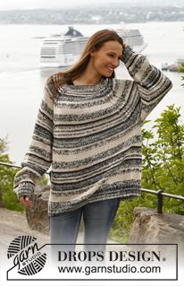 Vanessa, DROPS 140-23 top down raglan with cable. Free pattern.