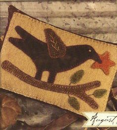 Primitive Folk Art Wool Applique Pattern:  AUGUST - Woolen PIN CUSHION. $5.00, via Etsy.