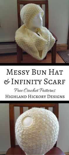 Free crochet patterns for women's winter wear. Make the Jess Mess-y Bun Hat in any color of the rainbow, but don't forget to add the matching infinity scarf.