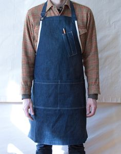 Denim workshop apron, just like you used to wear! Jean Apron, Pottery Supplies, Work Aprons, Gardening Apron, Leather Apron, Aprons For Men, Denim Crafts, Recycle Jeans, Sewing Aprons