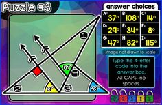 An engaging digital escape room for finding missing angles. Students must unlock 5 locks through finding the missing measures of 20 angles. Students recall what they have learned about isosceles triangles, supplementary, vertical and right angles, parallel line and right angle notation, and parallel lines cut by a transversal. Questions are grouped 4 per puzzle, resulting in five 4-letter codes that will unlock all 5 locks. More @ scaffoldedmath.com 7th Grade Math, Math Class, Math Games, Math Activities, Math Word Walls, Teaching Math, Maths, Isosceles Triangle, Math Words