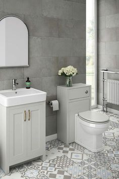 This exquisite small grey bathroom features the Chatsworth light grey bathroom vanity cabinet and matching WC unit