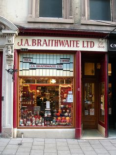 ~Braithwaite Coffee and Tea shop in Dundee  is one of those odd little places that really add a lot to a city's character. A coffee & tea merchant, it dates back to the middle of the nineteenth century, and it remains a thriving business to this day. Selling a massive range of coffees & teas.  Braithwaite's also roast their beans daily on the premises according to an age-old family recipe. The tiny wood-paneled room is worth visiting, if only for the smell,