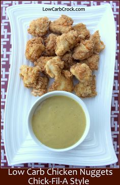 LowCarbCrock.com: Low Carb Chicken Nuggets (Chick Fil A Copycat) figure out how to make it THM s appropriate with the bread crumbs?