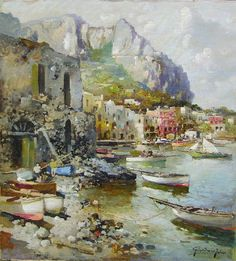 """Felice Giordano (1880 - 1964): """"Capri. Marina Grande"""", olio su tela riportato su tavola di 51,5 x 47,5 cm degli anni '30 - '40. Firmato Giordano Felice in ..."""