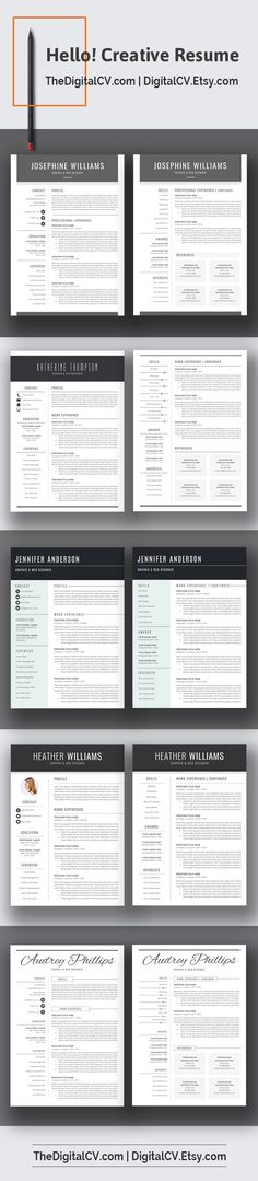 DigitalCVEtsy u003e Creative and clean resume template with - microsoft office word resume templates