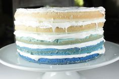 Who Wants a Piece of Our Ombre Independence Day Cake? via Brit + Co.
