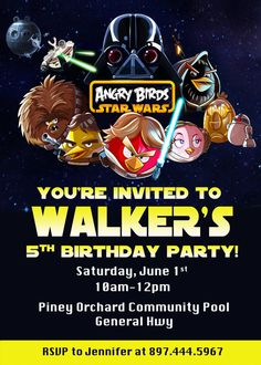 Angry Bird Star Wars Birthday Party by PrettyPaperPixels on Etsy, $7.99