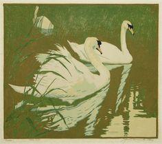 Swans by Jessie Arms Botke, 1930, woodcut.
