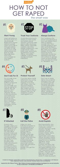 "Femifesto infographic spoofing Ottawa police safety tips  ""How To Not Get Raped"""