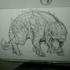 I forgot to upload this creature last mouth...So sorry. A lizard with bull leg, around 25cm big only. Ever it looks like scary and ugly but is a nice cute little pet. Hope u like it. #creaturesdesign #creatures #alien #aliens #sketch #idea #pencil #art