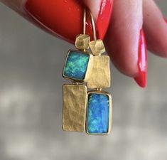 Lightning Ridge, Opal, Drop Earrings, Jewelry, Jewlery, Jewerly, Schmuck, Opals, Drop Earring
