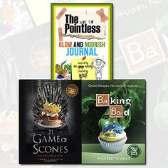 #Baking Bad &Game of Scones Collection Glow & Nourish Journal 3 Books Set #Books_Collection #wholesale_books #Pointless_Book