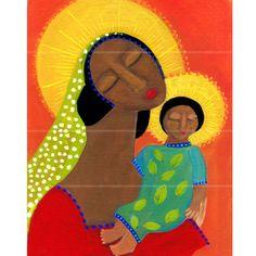 La Madonna africano primitivo arte popular religioso giclée archivo grabado por el artista popular de Pennsylvania Rose Walton
