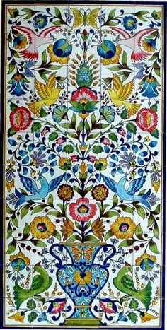 Ceramic tiles store, find state of the Art hand painted mosaic panel ceramic tiles wall with with bright colors. This mosaic mural is hand made and hand painted in Tunisia, bright colors. Each mural is unique. Mosaic Wall, Mosaic Tiles, Ceramic Tile Art, Art Tiles, Mosaic Mirrors, Tile Murals, Wall Mural, Wall Art, Keramik Design