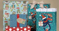 Add fun and whimsy to your gift wrap with scarf-clad owls and octopi!  Add glitter and dots for some extra pop. gift wrap, homemad gift, paper sourc, owl holiday, holiday gifts