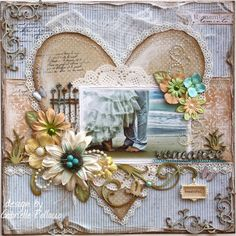 Scrapbook page made by Dusty Attic Design team member Gabrielle Pollacco using DA flourishes, Wrought Iron fence, Grasses, Sweet Pea Frame Set, Titles) by Dwilliamswood Wedding Scrapbook Pages, Bridal Shower Scrapbook, Birthday Scrapbook, Vintage Scrapbook, Scrapbook Cards, Heritage Scrapbooking, Attic Design, Freebies, Scrapbook Page Layouts