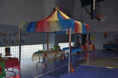 How to make a circus tent with plastic tablecloths.