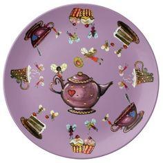 Fairy Cake Tea-Time Plates from $45.95 #giftideas #fairy #teatime #cakes #cupcakes