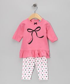 Fuchsia Ruffle Tunic & Bow Leggings   Daily deals for moms, babies and kids
