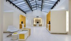 Yellow & white office pods