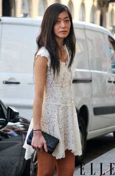 Ivory lace + leather clutch