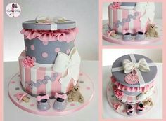 Baby Shower cake by Cakes by Dusty Pretty Cakes, Cute Cakes, Beautiful Cakes, Amazing Cakes, Gift Box Cakes, Girl Cakes, Fancy Cakes, Love Cake, Cake Creations